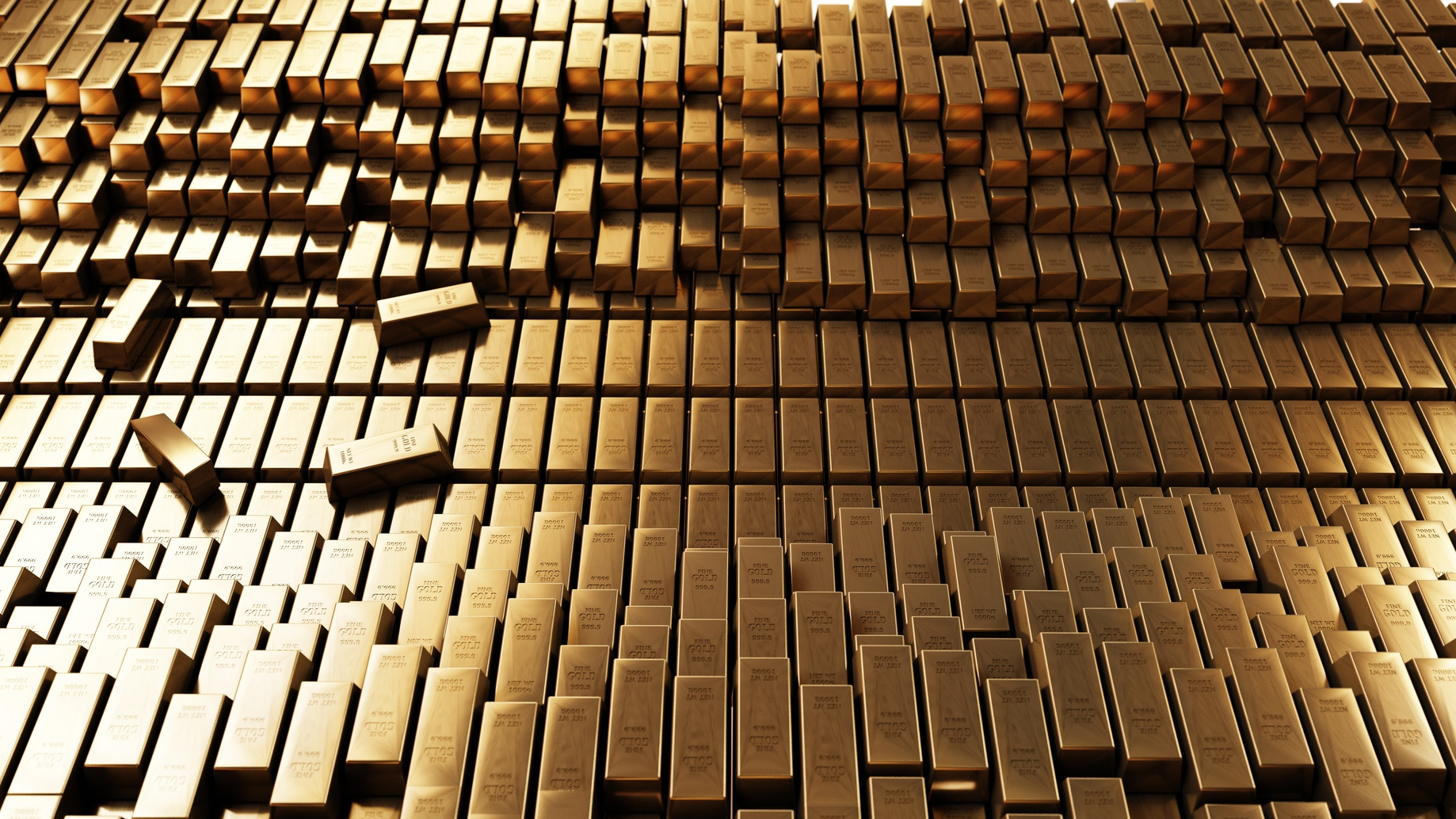 Gold Bars 3D realistic rendering.